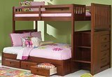 Discovery World Furniture Merlot Twin-Over-Full Mission Staircase Bunk Beds