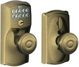 Schlage GEO Camelot Keypad Entry with Flex-Lock and Georgian Style Knobs, Antique