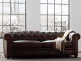 Trent Austin Design Harlem Genuine Leather Chesterfield Rolled Arm Sofa